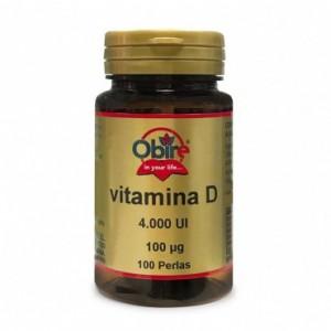 Vitamina D3 100 mcg. 4000 UI 100 perlas Obire
